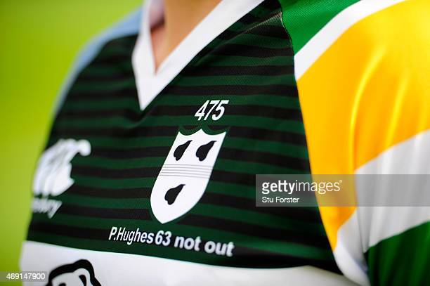 A detail shot of the Worcestershire playing pre season Phil Hughes memorial shirt at the Worcestershire County Cricket photocall prior to the 2015...