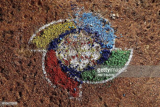 A detail shot of the World Baseball Classic logo on the pitchers mound after Game 6 of the 2016 World Baseball Classic Qualifier at MCU Park on...