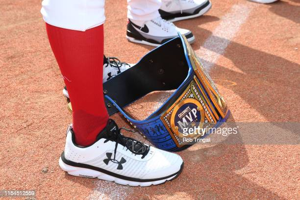A detail shot of the WWE belt at the feet of Mike The Miz Mizanin prior to the Legends Celebrity Softball Game at Progressive Field on Sunday July 7...