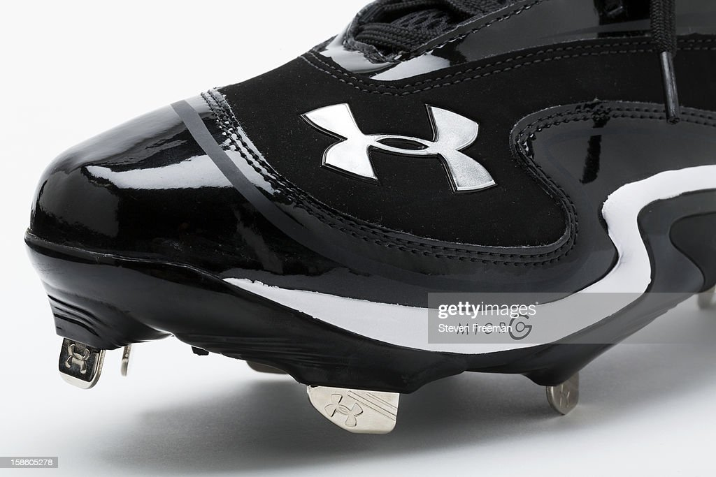 A detail shot of Under Armour cleats, the Official Performance Footwear Supplier Ball of Major League Baseball, photographed on December 19, 2012 in New York City.