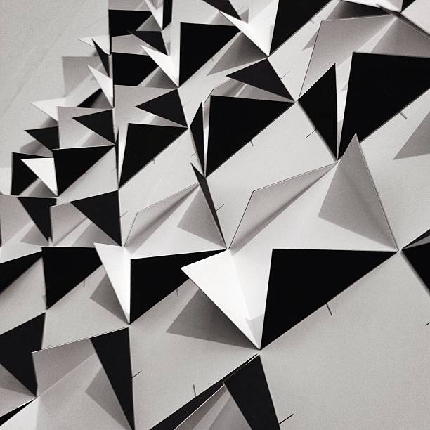 Detail Shot Of Wall With Black Folded Papers Wall Art