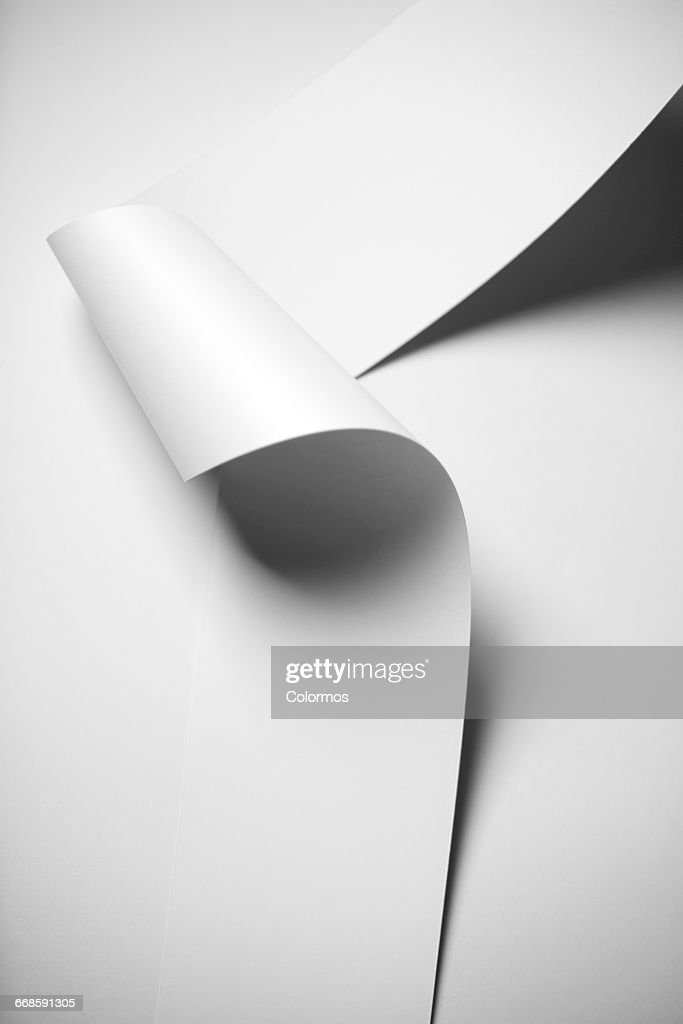 Detail shot of wavy paper and shadow : Stock Photo