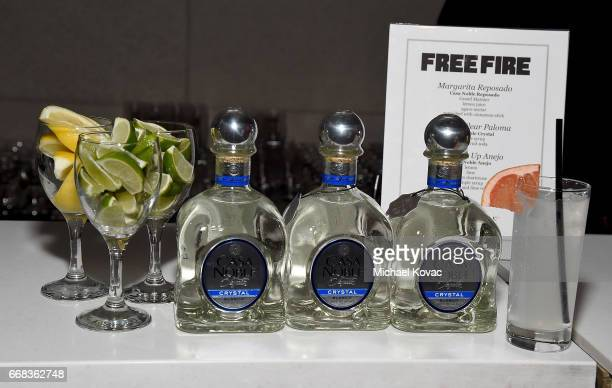 Detail shots of Casa Noble Tequila on display at the after party for The Los Angeles Premiere Of 'Free Fire' Presented By Casa Noble Tequila on April...