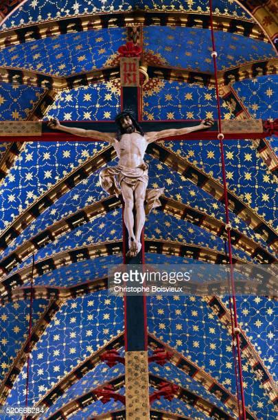 Detail Showing a Crucifix Inside Mariacki Church in Krakow