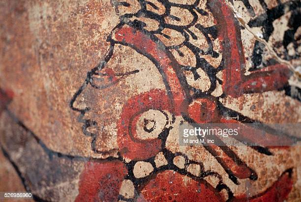 Detail Showing a Male Figure in Profile on a Mayan Ceramic from Tikal