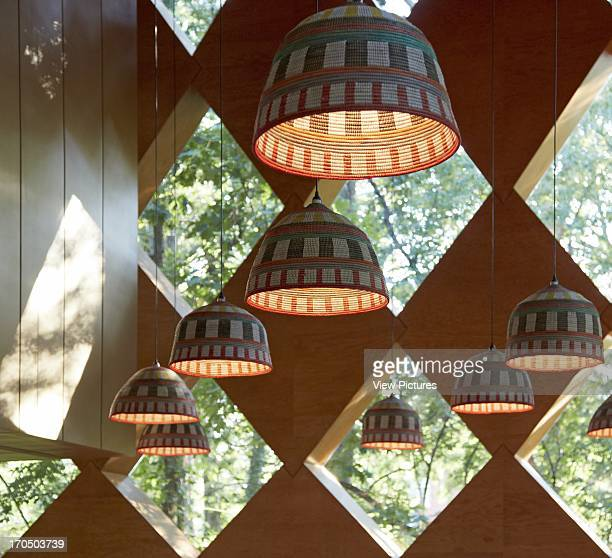 Detail showing African baskets used as lampshades The Francis Gregory Library Library North America United States WA Adjaye Associates