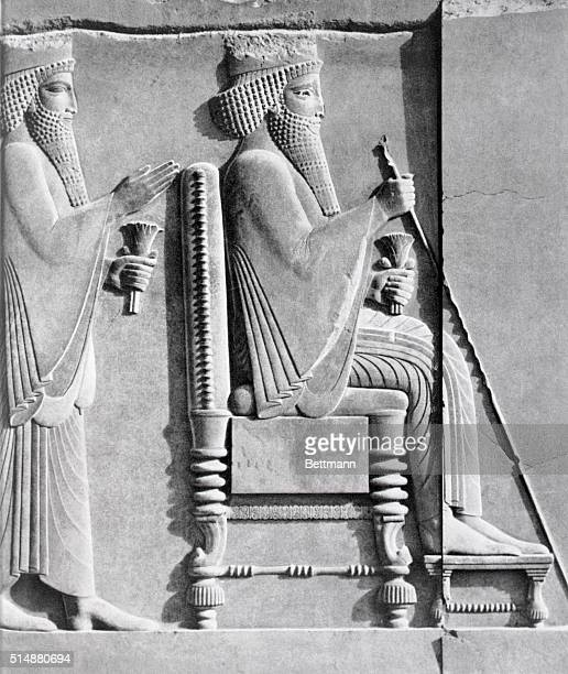 A detail showing Darius I enthroned with his son Xerxes behind him | Detail of 'Darius I Receiving a Median Dignitary' Relief Sculpture