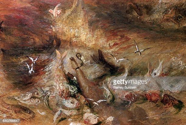 Detail showing fish attacking slave from The Slave Ship by Joseph Mallord William Turner   Detail of 'The Slave Ship' by Joseph Mallord William Turner