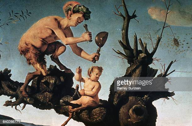 Detail Showing Satyrs in Tree with Beehive from The Discovery of Honey by Bacchus by Piero di Cosimo