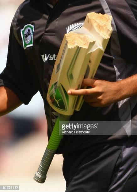 Detail showing the broken bat of Brendon McCullum of New Zealand during the Fifth NatWest Series One Day International match between England and New...