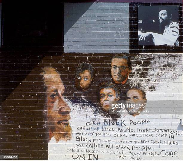 Detail showing the section of 'The Wall of Respect' celebrating black literary figures Chicago IL 1967 It shows the following figures WEB Dubois...