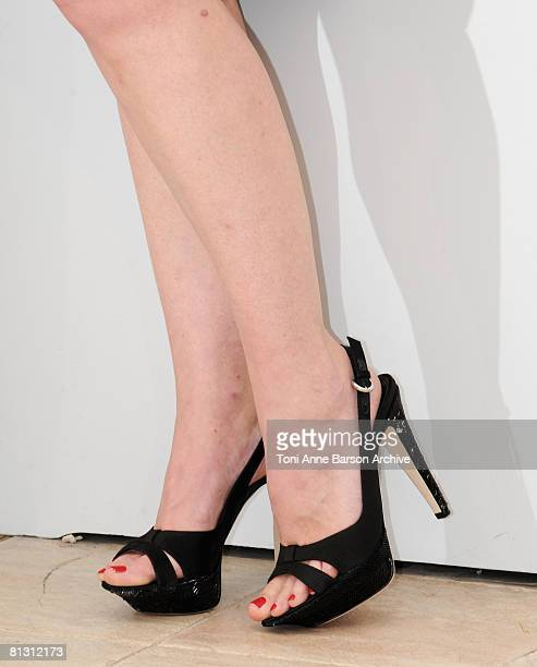 """Detail showing the shoes of Actress Julia Ormond attends the """"Surveillance"""" photocall at the Palais des Festivals during the 61st International..."""
