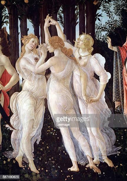 Detail Showing the Three Graces from Primavera by Sandro Botticelli Galleria degli Uffizi Florence Italy