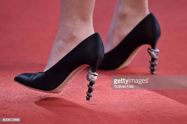 A detail shows the Chanel shoes of actress LilyRose Depp as she attends the Premiere of the movie Planetarium presented out of competition at the...