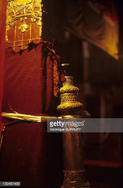 Detail temple Pillar with a religious music instrument for the Pujas Meru Sarpa monastery Tibet in China