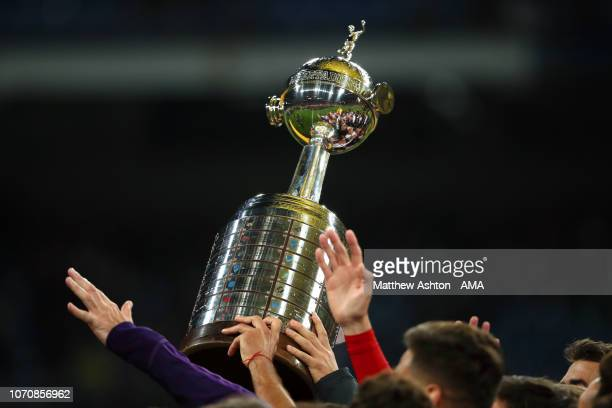 Detail View as the River Plate players celebrate with the trophy at the end of the second leg of the final match of Copa CONMEBOL Libertadores 2018...