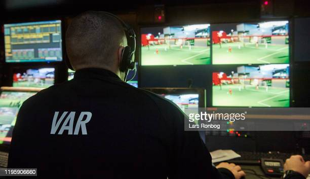 Detail view from the VAR-room of the technical equipment, keyboard, VAR-referee, Assistant VAR referee and Replay Operator during the Danish FA and...