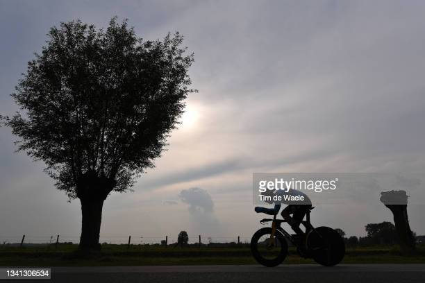 Detail view in shadow of Wout Van Aert of Belgium sprinting during the 94th UCI Road World Championships 2021 - Men Elite ITT a 43,3km Individual...