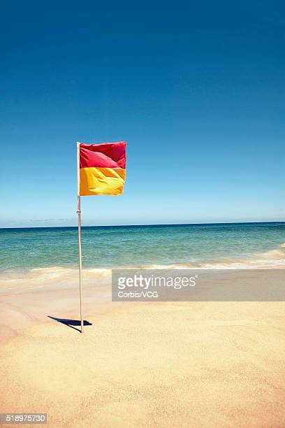 Detail view of a alert flag on the beach