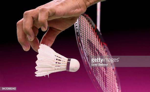 A detail view of a badminton raquet and shuttlecock during the Badminton Mixed Team Group Play Stage Group A on day one of the Gold Coast 2018...