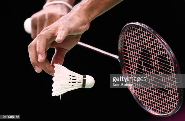 Detail view of a badminton raquet and shuttlecock during the Badminton Mixed Team Group Play Stage - Group A on day one of the Gold Coast 2018...