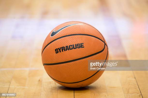 Detail view of a basketball bearing the word SYRACUSE and the Nike swoosh logo during the game between the Syracuse Orange and the Colgate Raiders at...