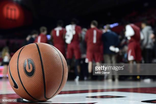A detail view of a basketball during a timeout of the Georgia Bulldogs' baskteball game against the Arkansas Razorbacks at Stegeman Coliseum on...