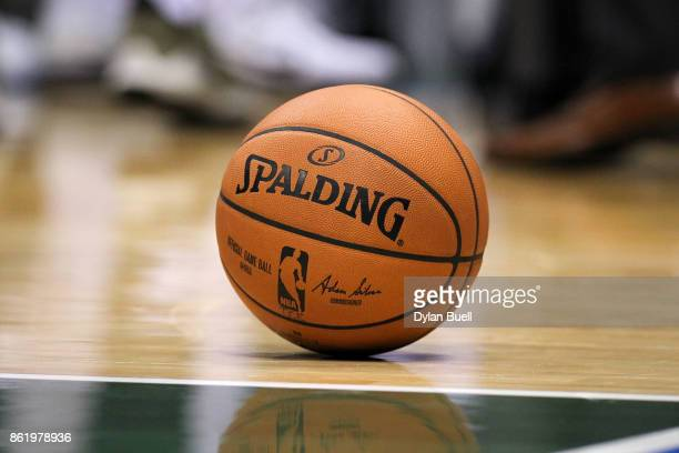 A detail view of a basketball on the court during a preseason game between the Milwaukee Bucks and Detroit Pistons at BMO Harris Bradley Center on...