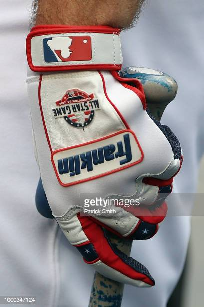 A detail view of a batting glove during Gatorade AllStar Workout Day at Nationals Park on July 16 2018 in Washington DC