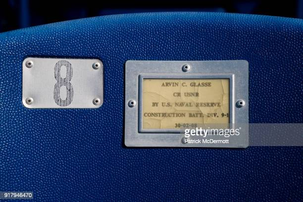 A detail view of a chair back memorial plate during a tour of the NavyMarine Corps Memorial Stadium the site of the 2018 Coors Light NHL Sadium...