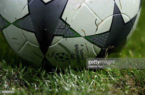 A detail view of a Champions League logo is seen on the ball during the UEFA Champions League Group F match between FC Steaua Bucuresti and FC Bayern...