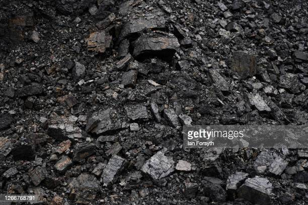 Detail view of a coal seam on the final day of mining operations at the Bradley Open Cast Mine on August 17, 2020 in Durham, England. The Banks...