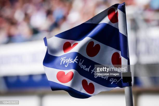 A detail view of a corner flag during the Dutch Eredivisie match between SC Heerenveen v Heracles Almelo at the Abe Lenstra Stadium on September 16...