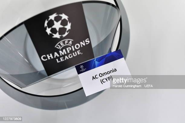 A detail view of a draw card during the UEFA Champions League 2020/21 First Qualifying Round draw at the UEFA headquarters The House of European...