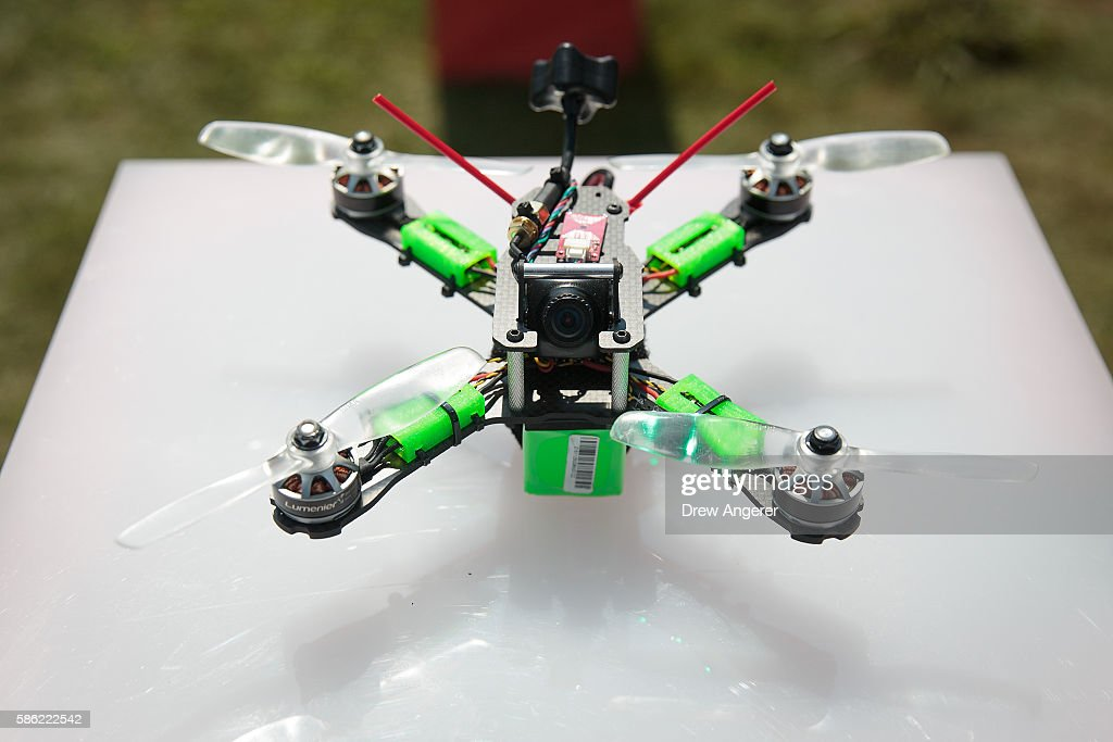 A detail view of a drone during practice day at the National Drone Racing Championships on Governors Island, August 5, 2016 in New York City. More than 100 pilots are vying for fifty thousand dollars in prize money.