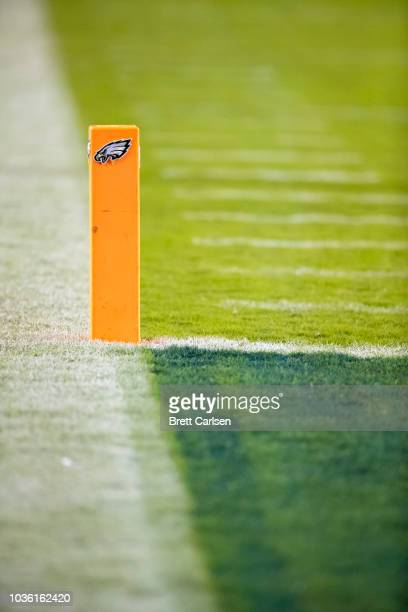 Detail view of a end zone pylon with the Philadelphia Eagles logo during the game against the Atlanta Falcons at Lincoln Financial Field on September...