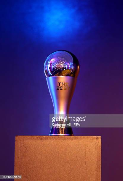 Detail view of a FIFA Best Award Trophy during a Press Conference, ahead of The Best FIFA Football Awards 2018 on September 3, 2018 in London,...