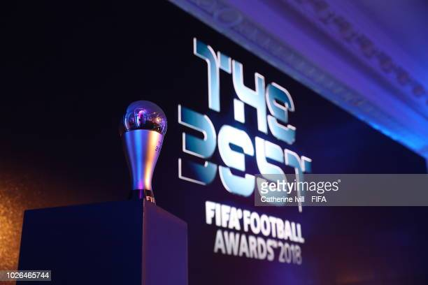 A detail view of a FIFA Best Award Trophy during a Press Conference ahead of The Best FIFA Football Awards 2018 on September 3 2018 in London England