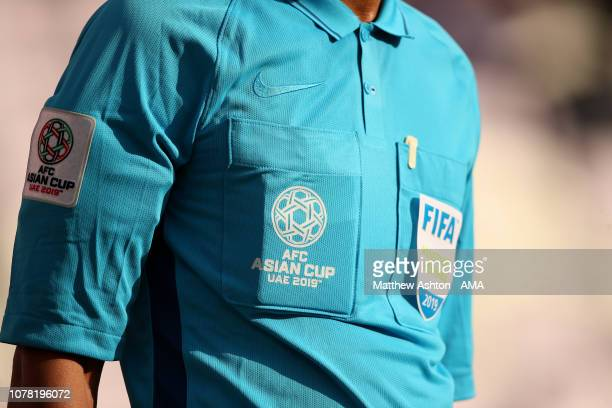 Detail View of a FIFA Referee's shirt and Asian Cup 2019 logo during the AFC Asian Cup Group B match between Australia and Jordan at Hazza Bin Zayed...