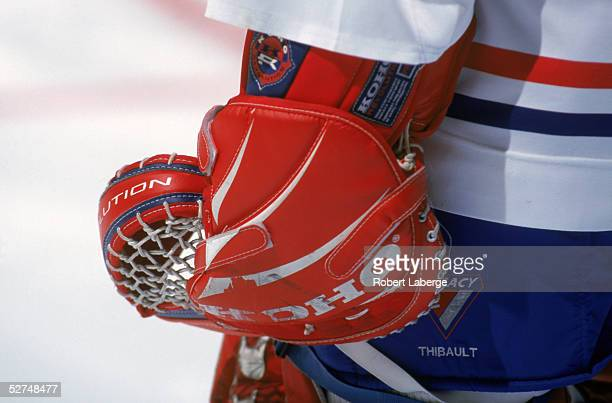 Detail view of a goalies glove taken during the NHL game between the Boston Bruins and the Montreal Canadiens at Molsen Center on January 21, 1998 in...
