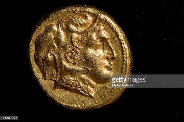 Detail view of a Gold medal of Alexander the Great, wearing the scalp of an elephant during The Quest for the treasure of Mir-Zakah on October 28,...