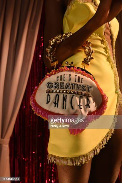 A detail view of a handbag at the Sophia Webster AW18 presentation during London Fashion Week February 2018 at Hotel Cafe Royal on February 19 2018...