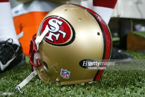 Detail view of a helmet of the San Francisco 49ers with a decal in memory of Bill Walsh during the NFL game against the St Louis Rams at the Edward...