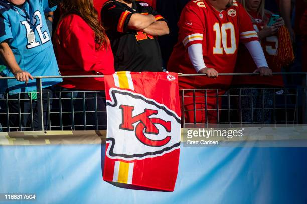 Detail view of a Kansas City Chiefs flag hanging with fans during the game against the Tennessee Titans at Nissan Stadium on November 10 2019 in...