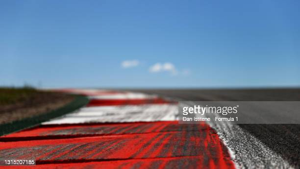 Detail view of a kerb during previews ahead of the F1 Grand Prix of Portugal at Autodromo Internacional Do Algarve on April 29, 2021 in Portimao,...