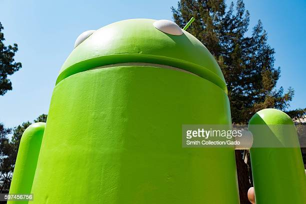 Detail view of a large sculpture representing the Android cellphone operating system at the Googleplex headquarters of the search engine company...