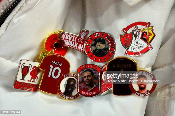 Detail View of a Liverpool fans pin badges during the Premier League match between Liverpool FC and West Ham United at Anfield on February 24, 2020...