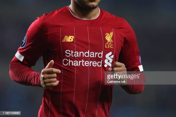 Detail view of a Liverpool shirt during the UEFA Champions League group E match between KRC Genk and Liverpool FC at Luminus Arena on October 23,...