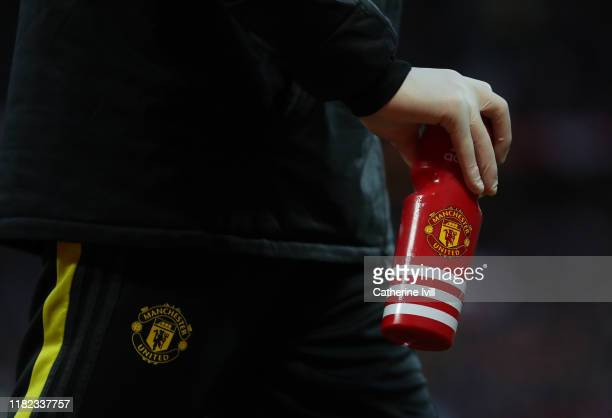 Detail view of a Manchester United water bottle with the club badge on during the Premier League match between Manchester United and Liverpool FC at...