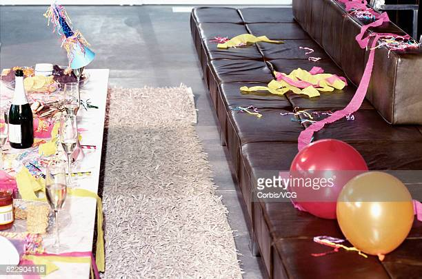 detail view of a messy room after a big party - messy table after party stock pictures, royalty-free photos & images